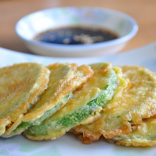 Korean Hobahk Jeon and soy - vinegar dipping sauce