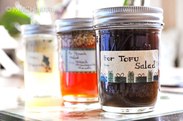 3 bottles of salad dressing with labels for gifting