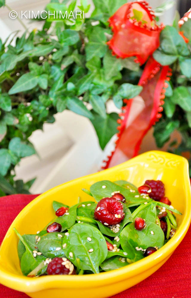 A bowl of Spinach Strawberry Salad with Sesame Onion Dressing Gift