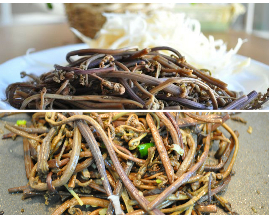 Two pics of reconstituted bracken fiddleheads and then sauteing in pan