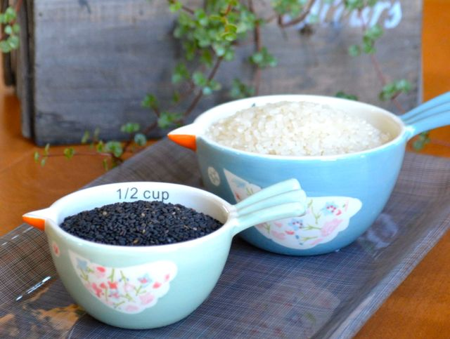 rice and black sesame for jook