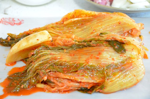 Old sour whole cabbage kimchi aged 10 months