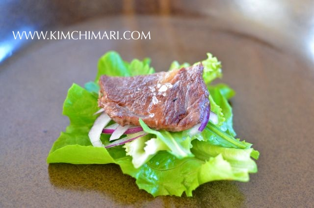JJ's style Korean rib eye steak salad with ssam elements