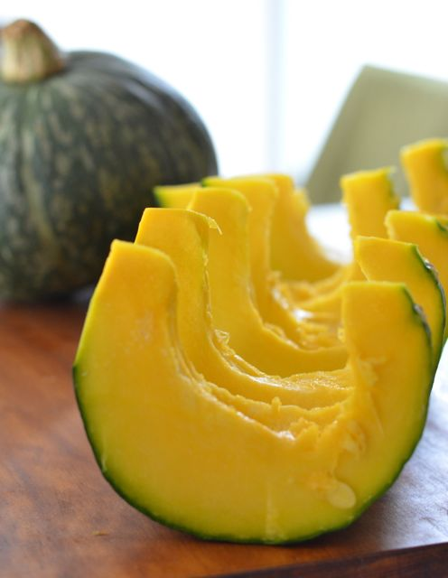 Cut 1/2 squash into smaller slices for steaming