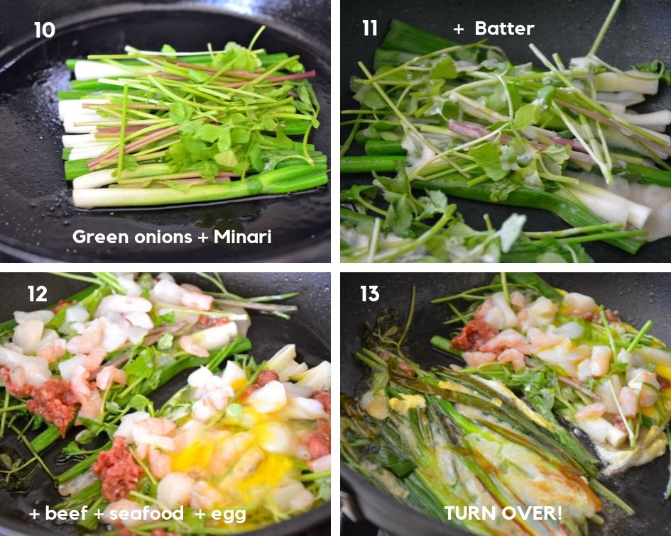 process shots for frying pajeon in the pan