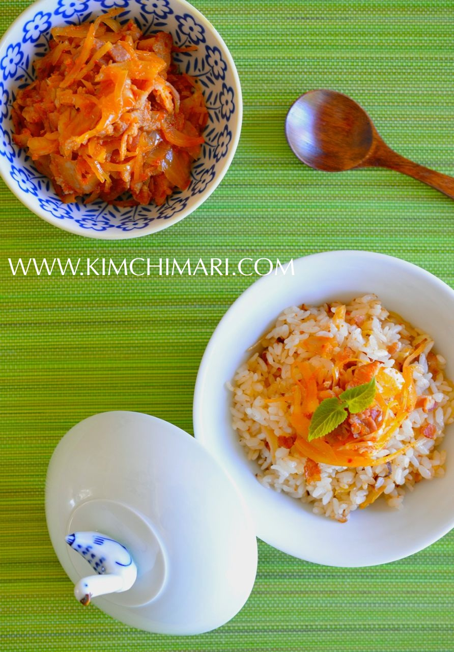 Easy mock Kimchi Rice with Sauerkraut and Bacon