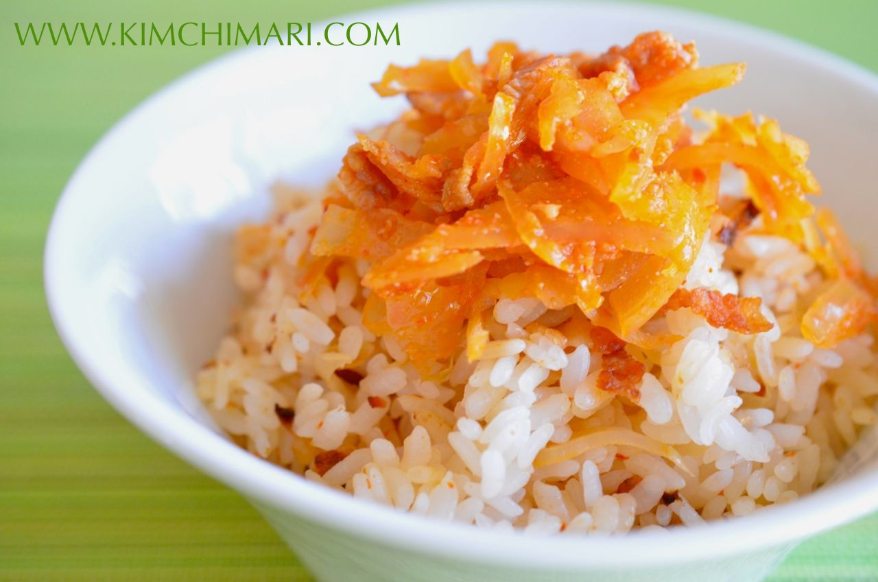 Mock Kimchi Rice with Bacon and Sauerkraut