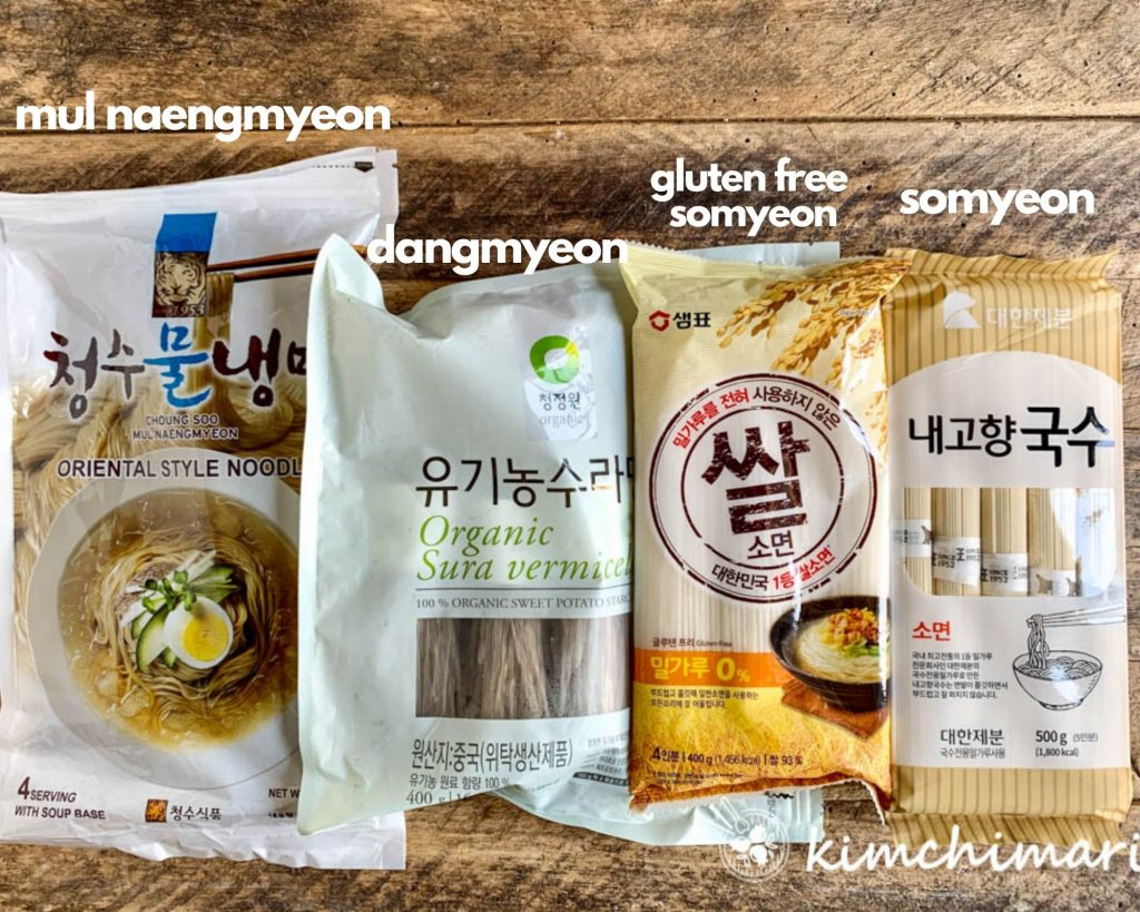 Dry Noodle packages of Mul Naengmyeon, Dangmyeon, Somyeon