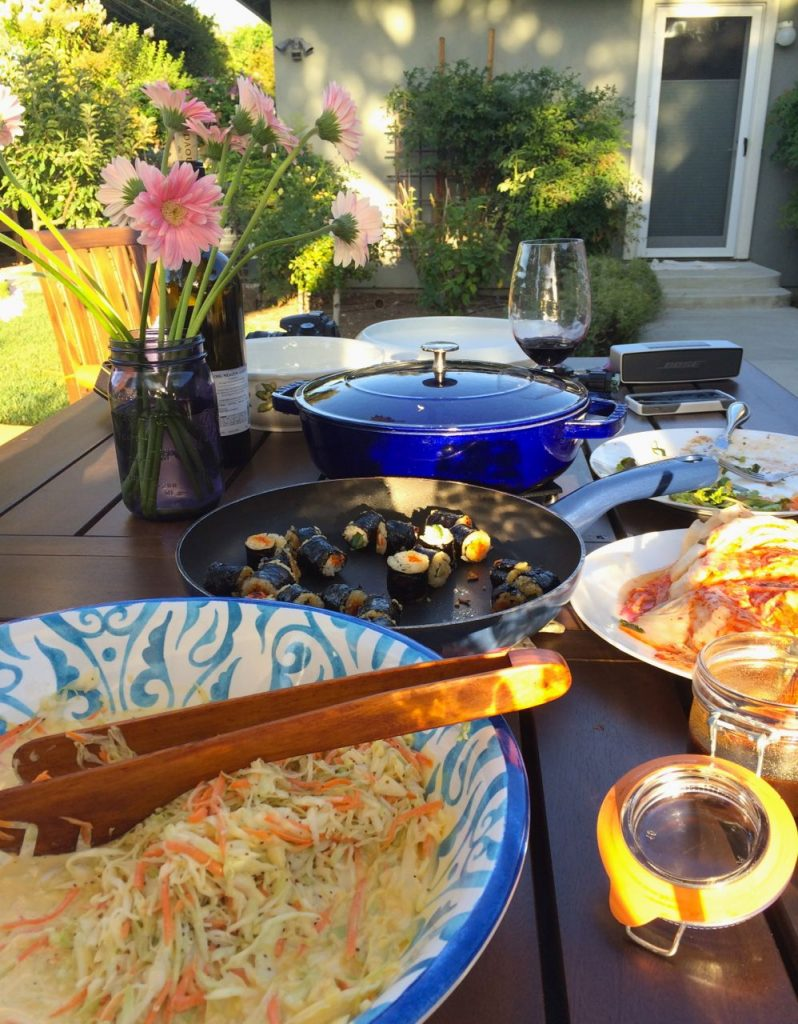 Sunday family dinner in our back yard - with leftovers from our Korean summer bbq party