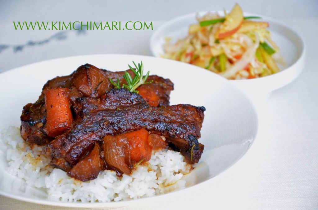 Braised Soy Pork Ribs with Apples