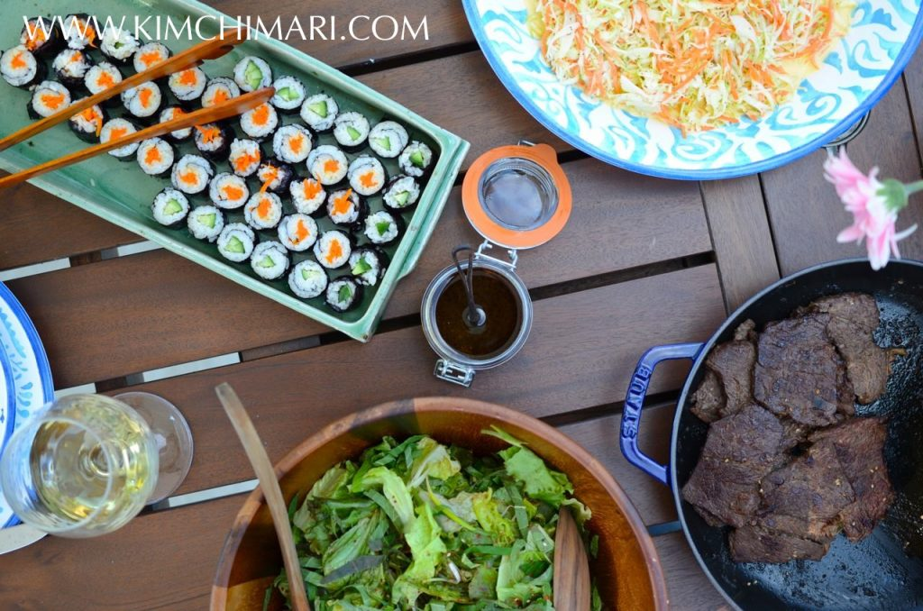 Korean BBQ fusion dinner party table setting