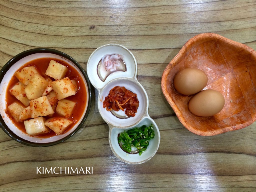 Korean Soybean Sprout Soup with Rice (Kongnamul Gukbap) side dishes and condiments