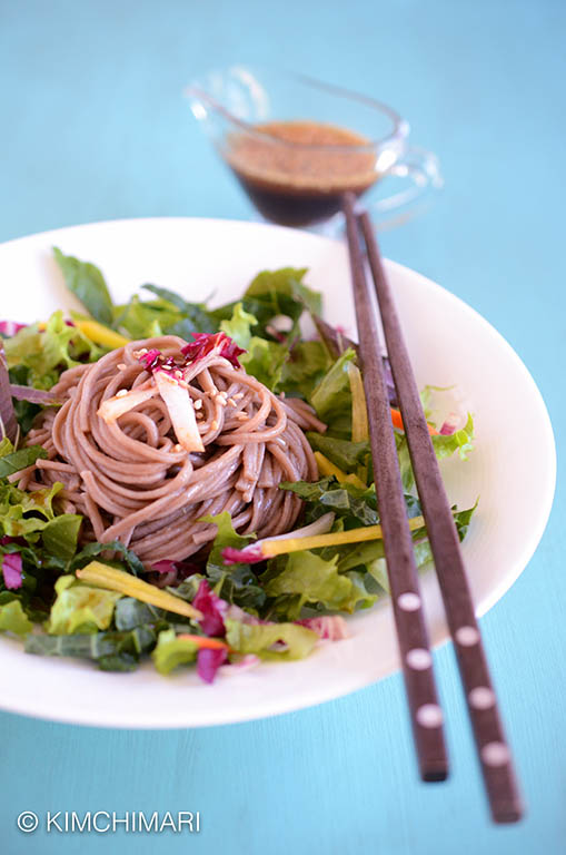 Buckwheat Noodle Salad with sesame soy dressing