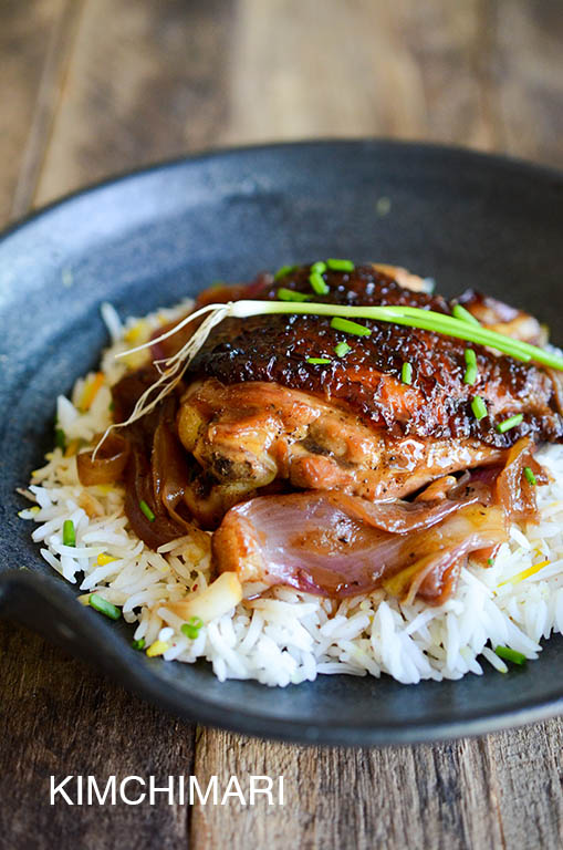 Korean Chicken Braised in Soy Ginger Lemon Sauce with onions served on rice