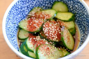 korean cucumber salad in soy vinegar dressing with chili powder