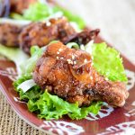 Korean Fried Chicken glazed with Sweet Garlic Spicy Soy Sauce