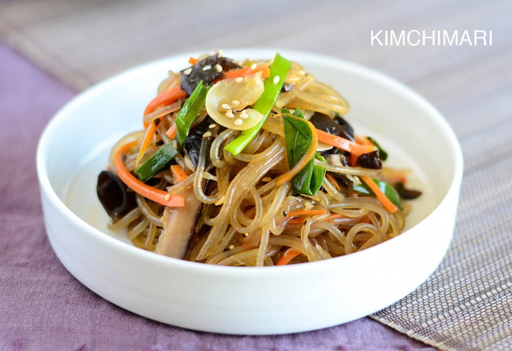 Simple Vegan One-Pan Japchae (Glass Noodles) with spinach and mushrooms