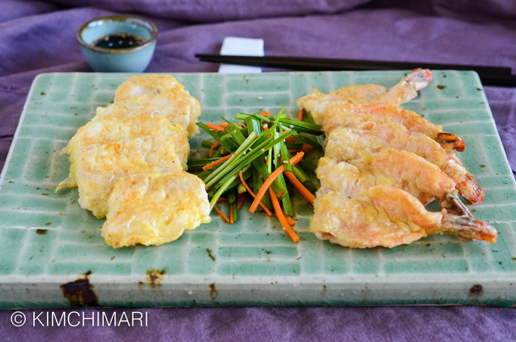 Korean Jeon (Fish and Shrimp) with Chives
