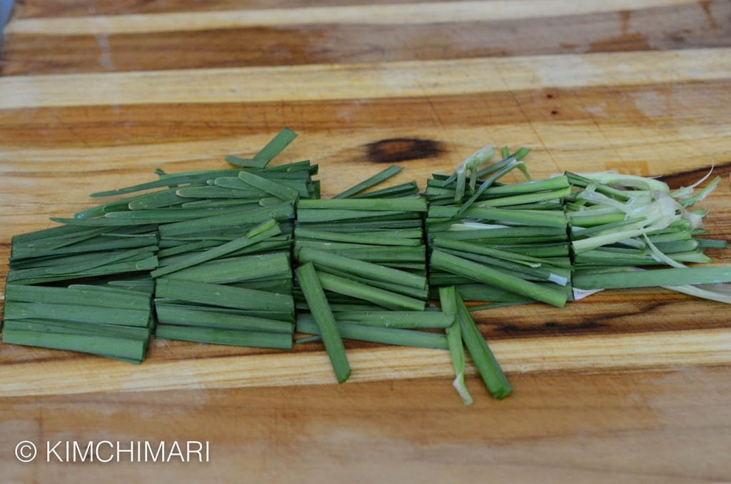 Cut chives for Korean Chive Pancakes