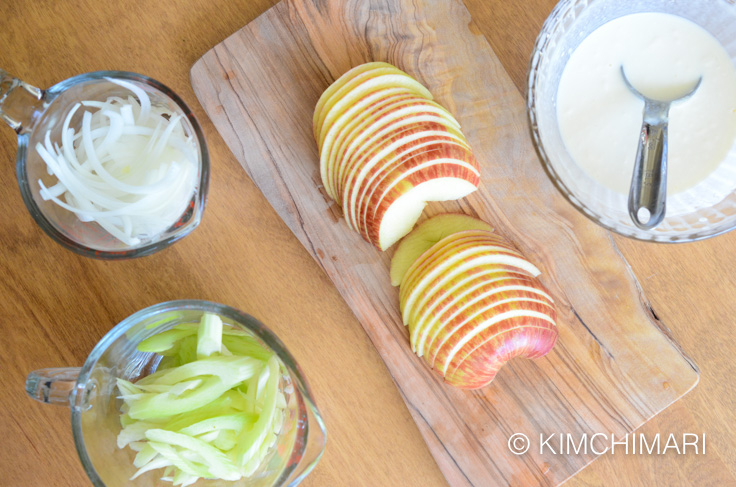 Ingredients for Apple Onion Celery salad with creamy dressing