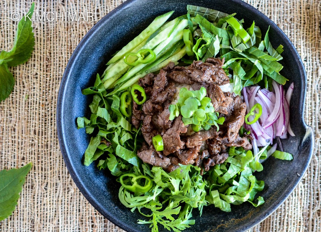 Rice Bowl with Bulgogi and fresh greens