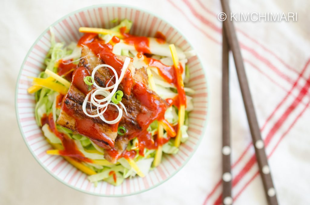 Miso Pork Belly rice bowl with siracha gochujang sauce