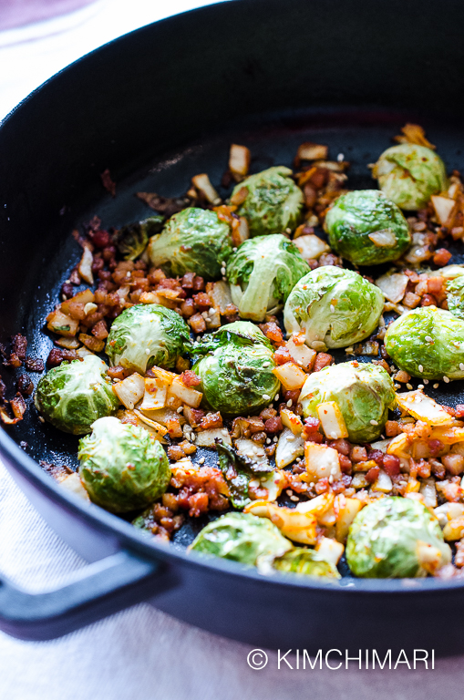 Brussels Sprouts Recipe with Kimchi and Pancetta