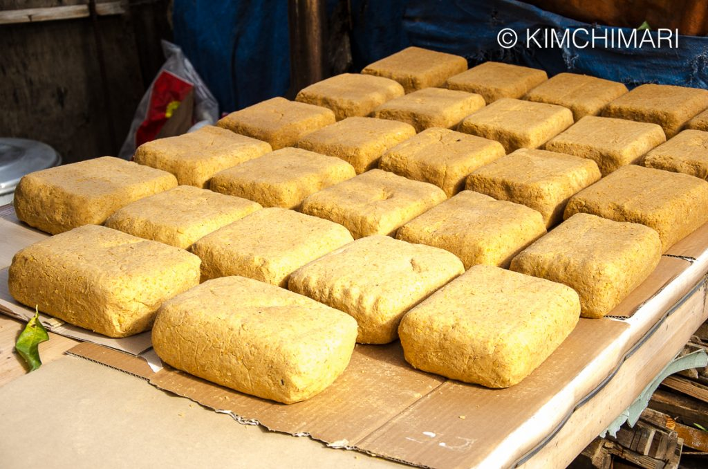 Meju blocks (Korean soybean blocks) drying in sun