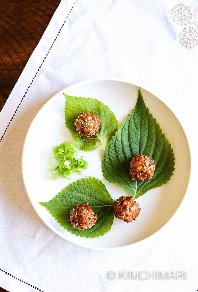 Korean cocktail meatballs with perilla leaves and green onion