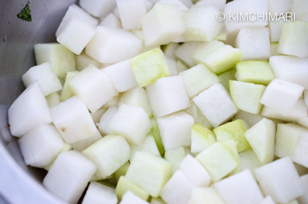 Kkakdugi radish cubes AFTER it is pickled in brine for 20 miniutes