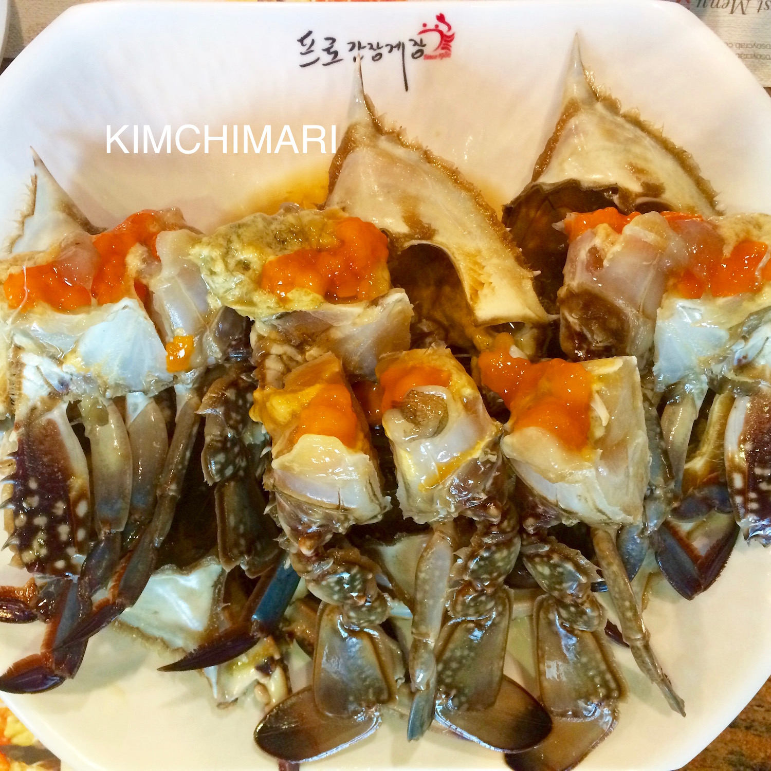 Korean soy sauce Crabs or gyejang on plate