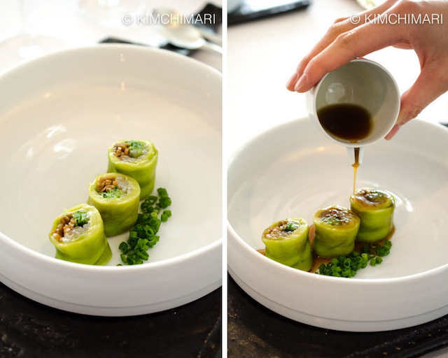 Eggplant Veg Rolls with Sauce being poured on at Poom Seoul restaurant