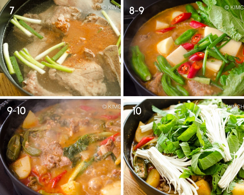 4 pics collage of different stages of cooking Gamjatang in Pot