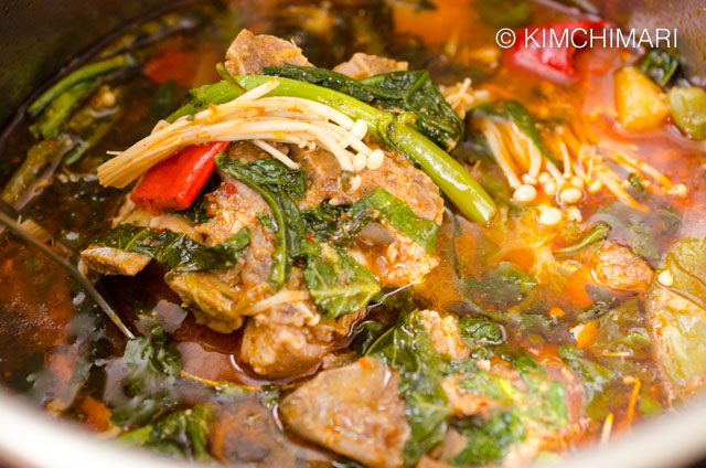 Close up of Instant Pot Gamjatang finished in the pot