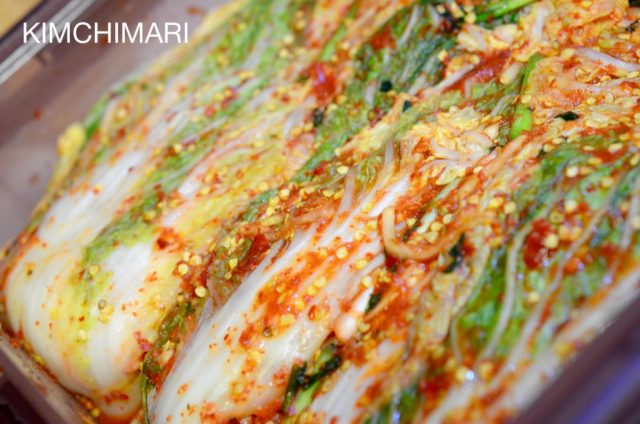 Cabbage Kimchi with Pepper Seeds