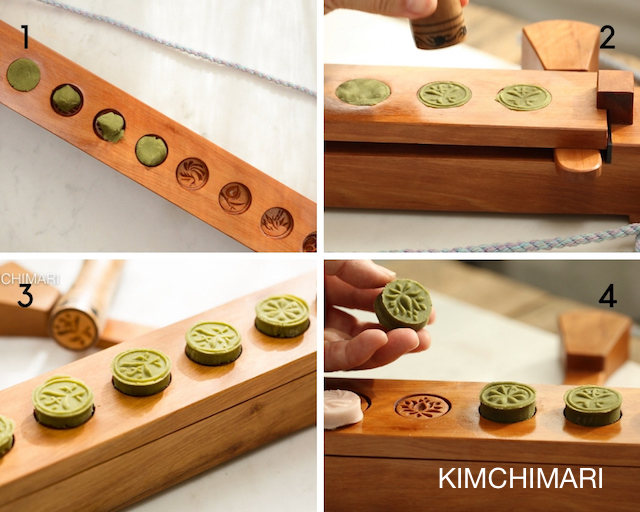 Step by step photos of making Green Tea Cookies using Dasik mold