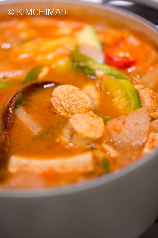 pollock roe stew or al tang in pot with a ladle