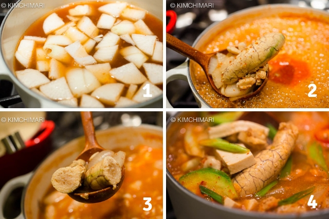 4 images of stages of cooking pollock roe (egg) stew