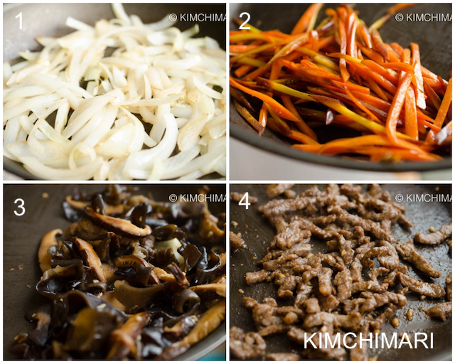 onion, carrot, mushrooms and beef sauteeing in pan for Japchae