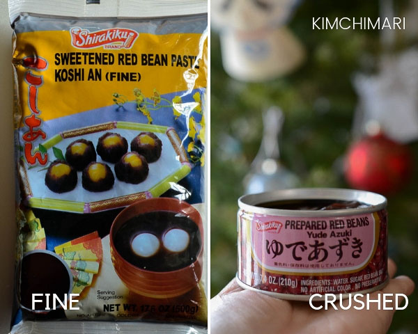 2 types of sweet red bean pastes - one that says FINE and the other is canned that has crushed beans