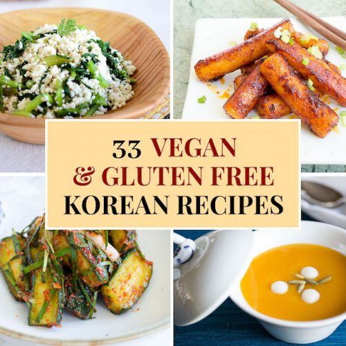 collage image of 4 vegan gluten free recipes which are cucumber kimchi, spicy rice cakes, squash soup and tofu side dish