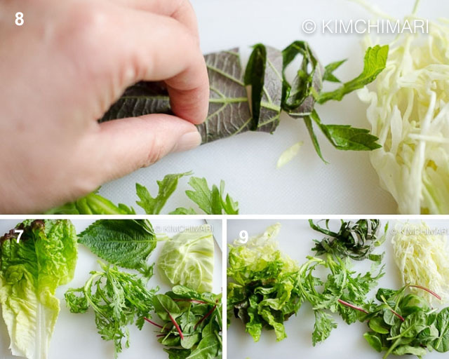 red leaf lettuce, perilla, cabbage being cut into thin strips