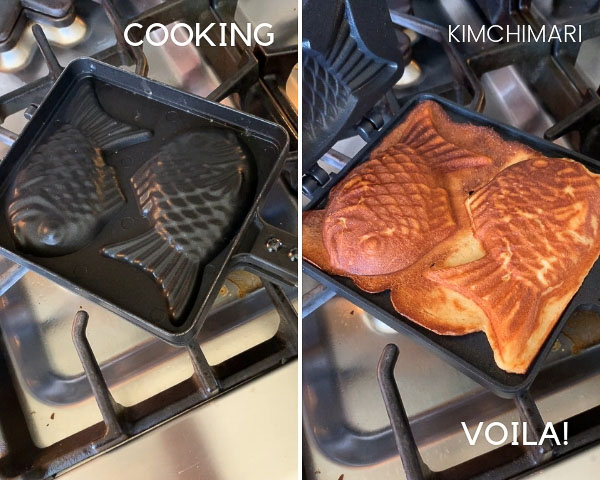 Quick Bungeoppang cooking in pan on the left and pic of nicely browned and fully cooked ones on the right with the pan opened