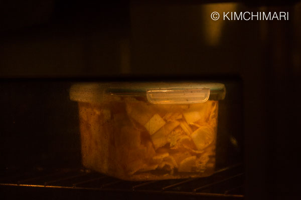kimchi container in oven