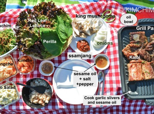 Korean BBQ Grill Table Setup example with all fixings - from my cookbook