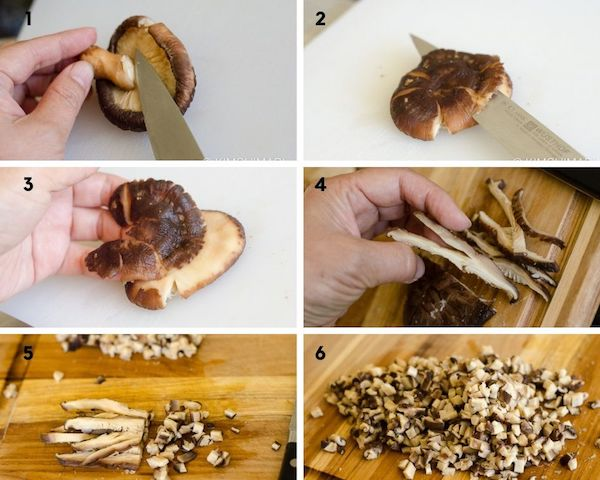 step by step images of how to dice shitake mushrooms