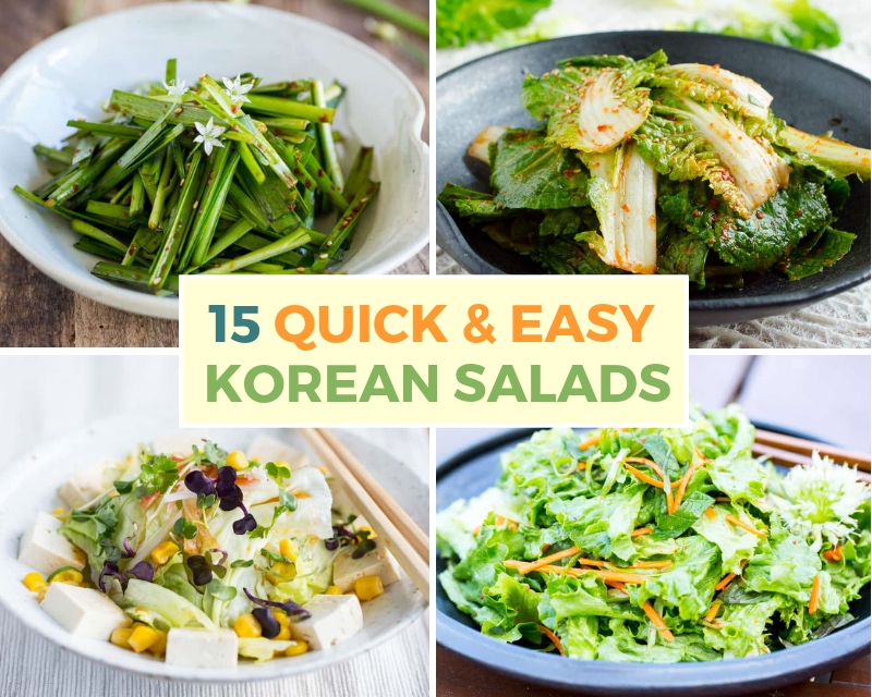 different korean salads of cabbage, chives, tofu and lettuce
