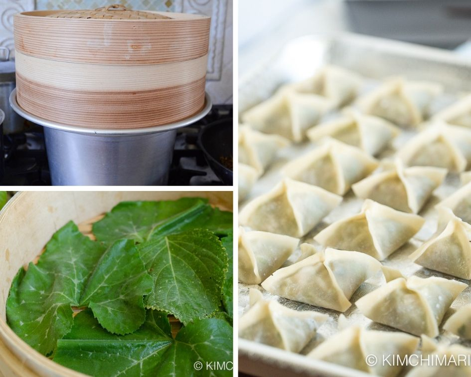bamboo steamer lined with zucchini leaves and tray of uncooked vegetarian dumplings ready to cook