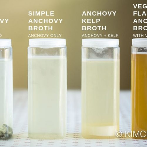 4 anchovy broth variations in bottles