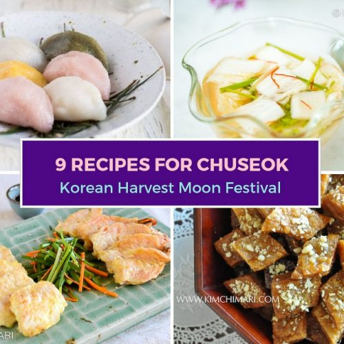 collage image of 4 Chuseok recipes including jeon, songypeon, mul kimchi and yakgwa